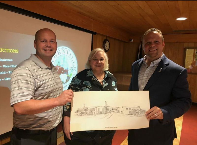 Councilman Andy Lemon and Chairman Matt Uhl of the Greenville Historic Preservation Commission with Donna Kepley Foster of SIGS