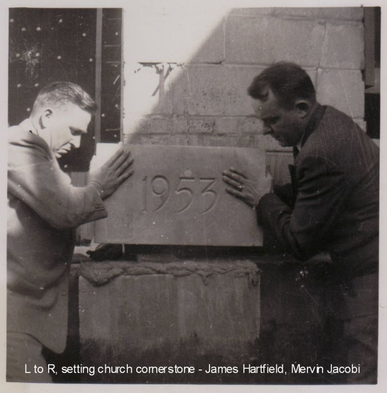 Greenville Christian Church - Setting the church cornerstone (1953)